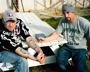Paul (left) and Anthony (right), in the courtyard at The Last Stop Recovery House, 2013.
