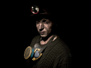 Worker of an illegal coal mine in the area of Donbas, near the city of Torez. Despite the war in Donbas this activity still goes on and supports generally a large part of the families of this area.