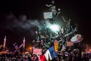 Demonstration against terrorism in Paris, after a series of five attacks occurred across the Île-de-France region, beginning at the headquarters for satirical newspaper Charlie Hebdo. Paris, France, 11 January 2015.