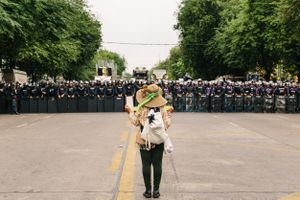 A solitary protester left the crowd of anti-government demonstrators to stand alone and face a line of police.
