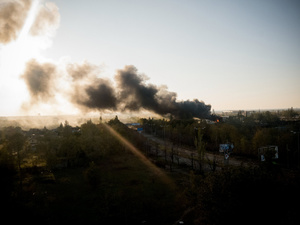 View of the airport of Donetsk during a russian rebels attack.