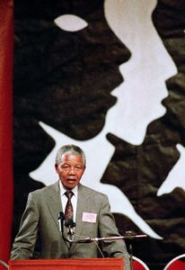 "Kempton Park. Nelson Mandela speaks at CODESA, the Convention for a Democratic South Africa. From the series ""Previously Significant Places"" © Graeme Williams, courtesy of Huis Marseille"