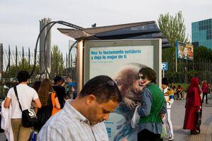 The Joker waiting for bus. Madrid. 2016