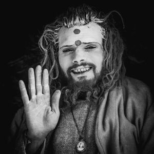 Yogi in his cave, Mana, India