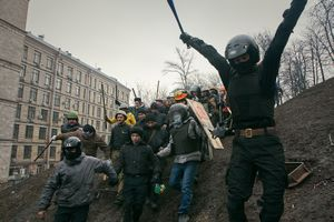 Police troop captured by protesters (Ukraine, Kiev, February, 2014)