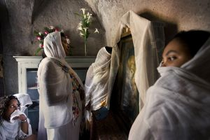 Jerusalem, Apr 08 - Ethiopian Christian pilgrims praying in their church adjacent to the Holy Sepulcher church © Natan Dvir