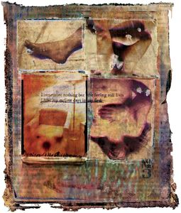 "Canto Three/ Circumstantial Evidence text in image:    I remember nothing but the feeling still lives                              I bear my earliest days in my flesh from ""There is a Cataclysm Inside Us"" by Vicente Huidobro                                  © 1994 Diane Fenster"