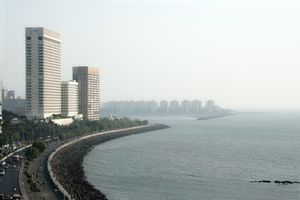 Reclaimed coast & highrise towers, Mumbai