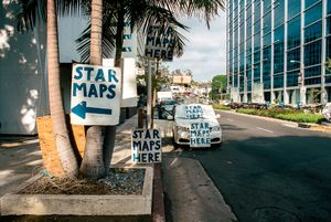 STAR MAPS on boulevards, STAR MAPS in souvenir shops, STAR MAPS at gas stations, STAR MAPS at mini-marts. Hand-painted signs, ubiquitous as the palm trees. Self-governed tour guides of Beverly Hills grated gates and long driveways. Sunset Blvd. Los Angeles, California. 2016.
