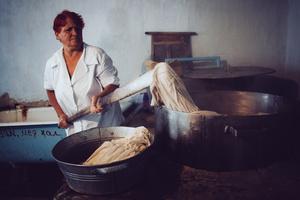 Valentina has already worked in a TB hospital laundry for 25 years. Novozburevka TB hospital, August 2011.