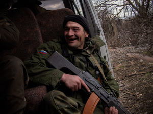 Soldier jokes during a patrol near the village of Pinsky.
