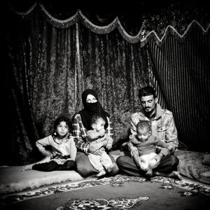 Syrian refugee family in camp near Jeeza, Jordan