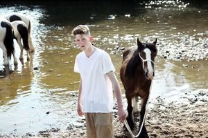 Jimmy washing his horse