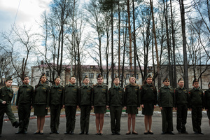 Schoolchildren line up for drill on a Monday afternoon at School #7, 4 Apr 2016, Dmitrov, Russia. Drill is not manditory at School #7, but takes place before classes start at 8:00 and at 15:00. School #7 is a public school but offers cadet classes for those who wish to participate. The benefit of participating in cadet classes includes free lunch, while other students have to pay.