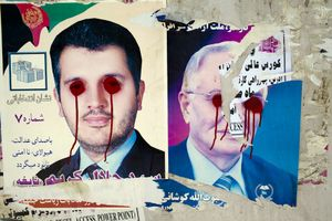 A campaign poster for hopeful provincial council candidates in Kabul province. © Michael Christopher Brown