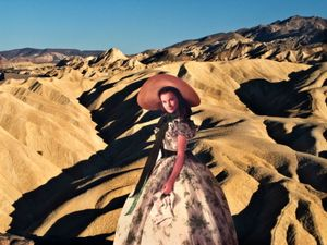 "From the series ""Scarlett America: American Wanderings of a Cardboard Stand-up"", Zabriskie Point, Death Valley, California, August 2008"