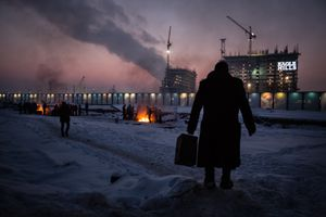 January 2017, Belgrade, Serbia. Behind Central Train Station. Temperatures go till minus 20°C, leading to frost bites and respiratory problems. Doctors of the World warns for severe illness like amputations and lung infections.