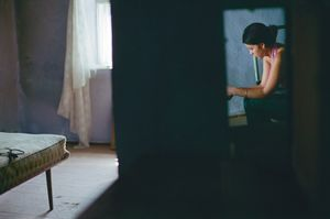 Visit to Elena with psychologist Ana. Very shy girl. Horrific sexual slavery story in Russia, at 16. © Dana Popa