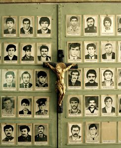 UNRECOGNIZED REPUBLIC OF NAGORNO-KARABAKH / Stepanakert / 13.09.11. Photographs of missing soldiers in the Museum for the Missing Fighters of the Nagorno-Karabakh war. © Meinrad Schade.