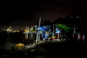 The lights of Port Moresby harbour viewed from ¨Paga Hill settlement