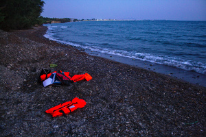 Abandoned life vests on Kos beach