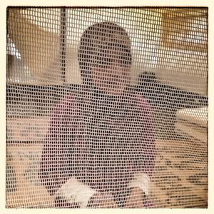 A young girl sits behind a net in her family's home