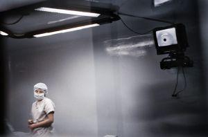 Lima, Perù 2005. A laser operation.