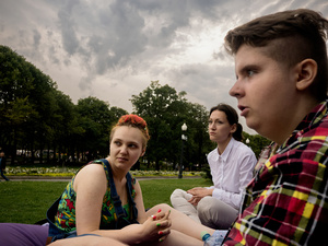 A lazy afternoon in Gorky Park with Nyuta and James, a voluteer with Rainbow Association.