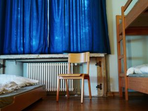 """Bedroom in a hostel nearby Sachsenhausen concentration camp. It is the converted villa of self-titled """"Concentration Camp Inspector"""" Theodor Eicke, influential figure in the establishment of the camp system."""