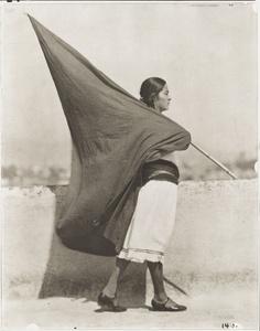 Tina Modotti (1896-1942). Woman with Flag, 1928. Courtesy of Isabel Carbajal Bolandi, 2014. © Digital image, The Museum of Modern Art, New York/Scala, Florence