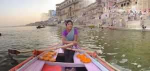 Barka Sells Diyas from Her Pink Rowboat
