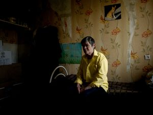 A former nurse of Donetsk's main hospital living alone in a dormitory for the past two years.