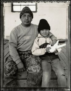 © Radek Skrivanek, Zhassan & Ibolsen with a pet dove, Tastubek, Aral Sea