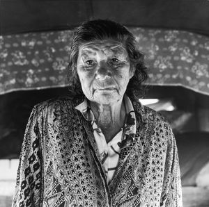 "Marie Louise Duvil, 1999. From the series ""A Bohemian Camp"". Centre d'Histoire de la Resistance et de la Deportation, Lyon © Mathieu Pernot"