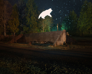 Old WWII bunker transformed for camping, and a flying cat, Vancouver Island, Ucluelet, BC, Canada, 2015.