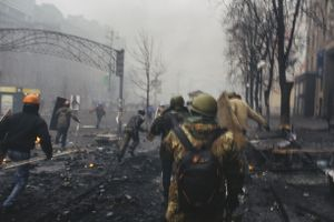Сlashes between riot police and protesters during the attempting to block Verhovna Rada on Khreschatyk street. In 20 minutes snipers opened fire. Kiev, Feb. 20, 2014