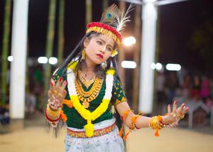 A girl dances the Leisem Jagoi (dance of devotion), at the Thangjing Lai Haraoba festival of Moirang.