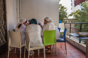 """Casablanca, March 2015. All the girls helped by the association """"Solidarité feminine"""", have the opportunity to work in the restaurant and hammam created by the will of the founder Aicha Ech-Channa."""