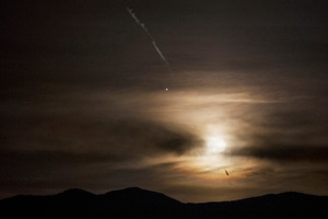 Almost full moon, Jupiter and a jet flying over, O'Toole Ranch, Reese River, Nevada 2016