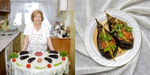 Ayten Okgu , 76 years old, Istanbul, Turkey. Karniyarik (stuffed aubergines with meat and vegetables) © Gabriele Galimberti