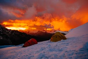 Sunset at High Camp on Chopicalqui