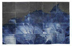 "Littoral Drift Nearshore #465 (Polyptych, Bainbridge Island, WA 11.28.16, Five Simulated Waves)76x120"", Unique Cyanotype"